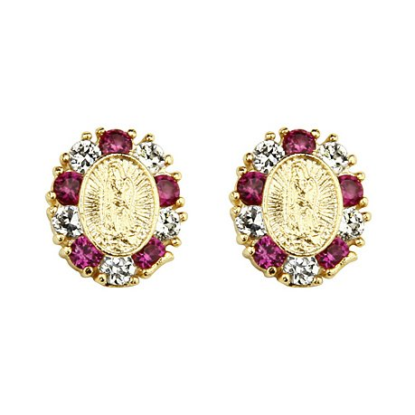14K Yellow Gold Plated Red Our Lady Guadlupe CZ Stud Earrings with Screw-back for Children & Women