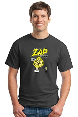 """Keep On Truckin' Apparel, Zap Comix """"Plugged In"""", Men's Cotton T-Shirt, an R. Crumb image-Charcoal-S"""