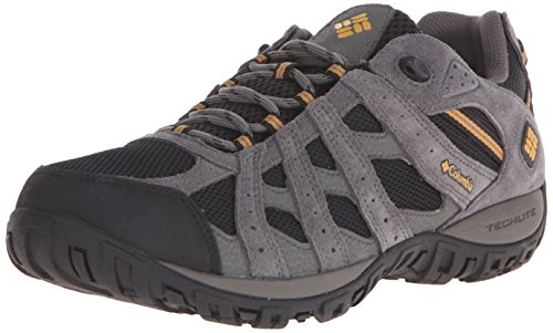 Columbia Men's Redmond Waterproof Trail Shoe, Black/Squash, 9 D US