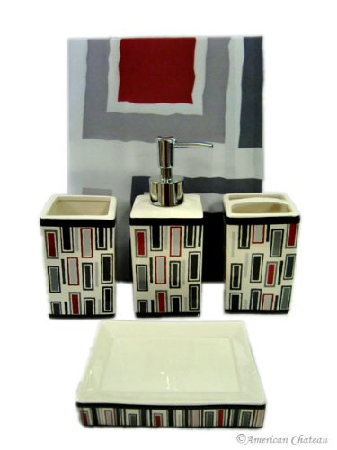 5pc Red Retro Bathroom Set / Shower Curtain Accessories