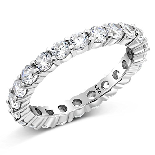 Sz (5) 3.50MM Sterling Silver 925 Cubic Zirconia CZ Eternity Engagement Wedding Band Ring
