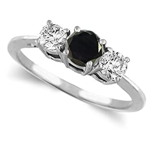 Diamond Engagement Ring 14K White Gold Round 3 Stone Black Diamond & White