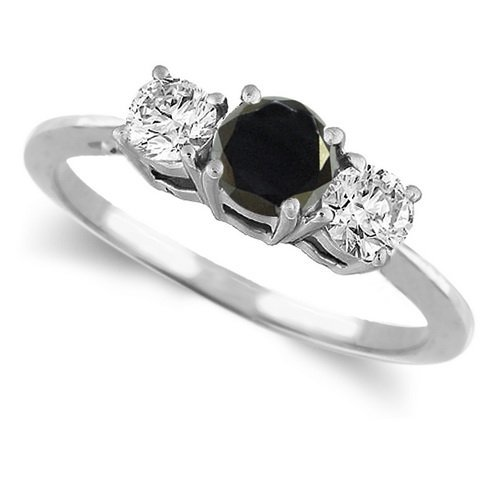 14K White Gold Round 3 Stone Black Diamond & White Diamond Engagement Ring (1 ctw)