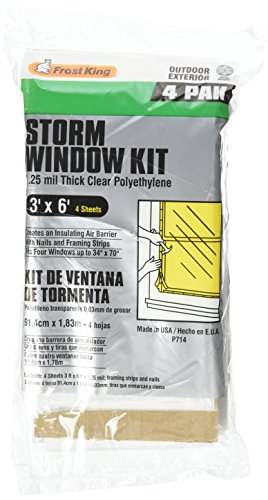 Frost King P714H Economy Outdoor Plastic Storm Window Kits 3-Foot by 6-Foot by 1.25-Millimeters (Window Insulation Kit Outdoor compare prices)