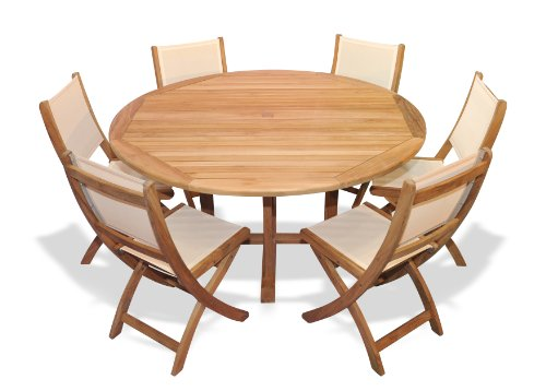 Teak Outdoor Dining Set For 6 With Teak And Sling Folding Chairs front-97753