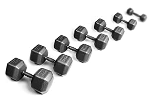 York Barbell 5 lb to 100 lb Pro Hex Dumbbell Set with Rack