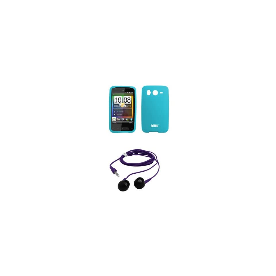 EMPIRE Light Blue Silicone Skin Cover Case + Purple 3.5mm Stereo Headphones for AT&T HTC Inspire 4G