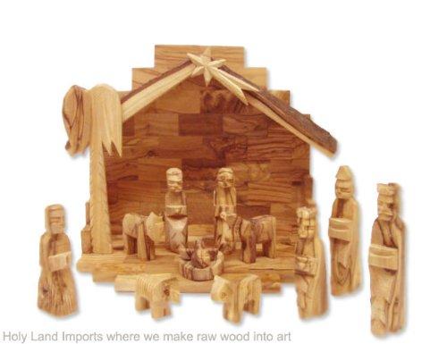 Olive Wood Nativity Set  Rustic Stable (Bark