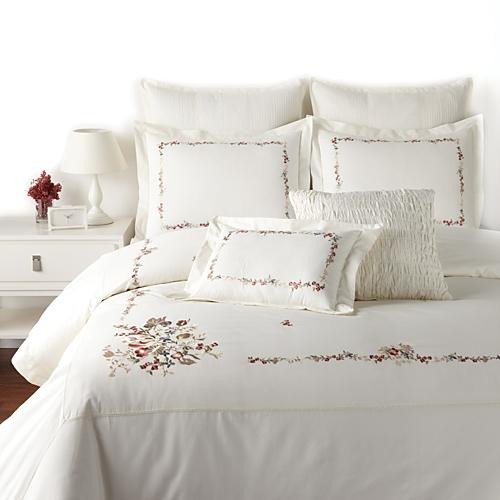 Raymond Waites Claire Charisma Ivory Floral 8-Piece QUEEN Duvet Cover Set