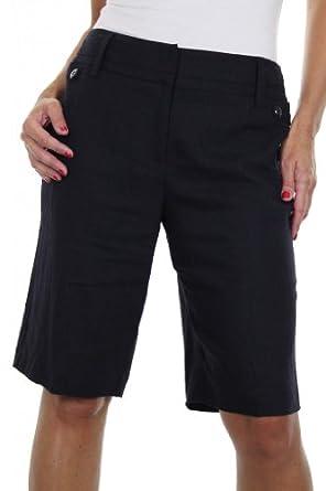(1373-1) Ladies Washable Linen Mix Shorts Navy Blue (14)