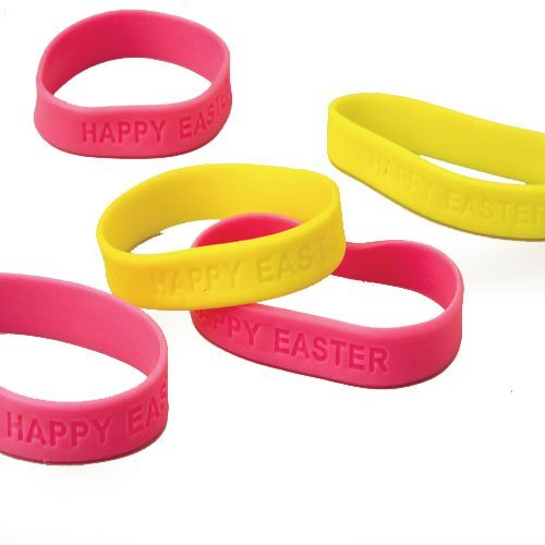 Lot Of 12 Assorted Color Happy Easter Embossed Rubber Band Stretchy Bracelets