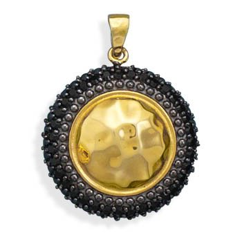 14 Karat Gold Plated Pendant with Black Synthetic Hematite