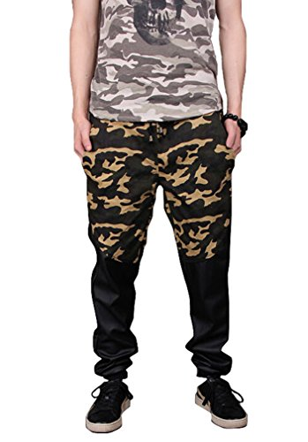 Easy Mens Boy Cool Hip-Hop Camouflage Splice Pu Cotton Long Pants Xxl As Picture