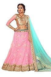 Manvaa Women Net Lehenga Choli(Pink_ASMMTZ7001C_Free Size)