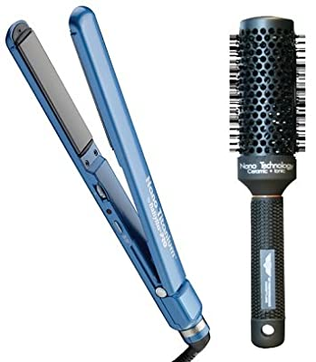 "BaByliss Pro Compact Nano-Titanium Ceramic Ultra-Slim Flat Iron / Hair Straightener (1"" inch) - BNT3070C with QT Performance Temptress Ceramic Ionic Thermal Brush"