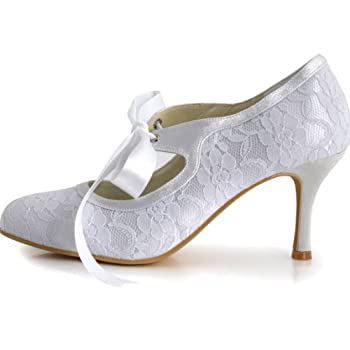 ElegantPark Women Mary Jane Closed Toe High Heel Pumps Lace Wedding Dress Shoes