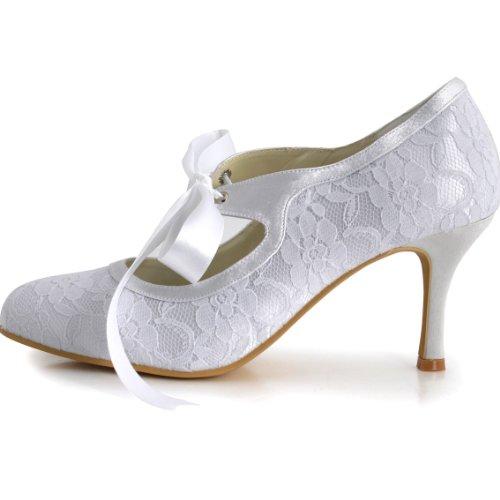 ElegantPark Women Mary Jane Closed Toe High Heel Pumps Lace Wedding Dress Shoes 1