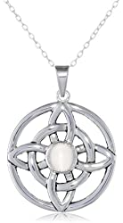 """Sterling Silver Celtic Knot with Gemstone Center Pendant Necklace, 18"""""""