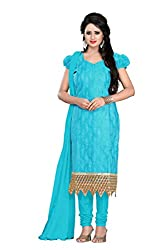 Zombom Blue Chanderi Cotton Embroidered Un-stitched Salwar Suit