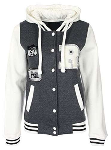 Fashion 4 Less Nuovo Donna R Fox 61 Baseball College giacca con cappuccio. Regno Unito 8 - 14 Charcoal 44-46