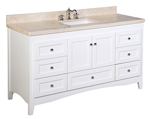 Fancy Abbey inch Single Bathroom Vanity Crema Marfil White Includes White