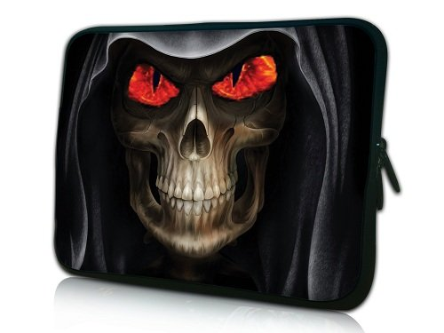 "17 ""- 17.6"" (pollici) Laptop Bag neoprene per COMPUTER PORTATILI ZIP*Red Eyes Skull*"