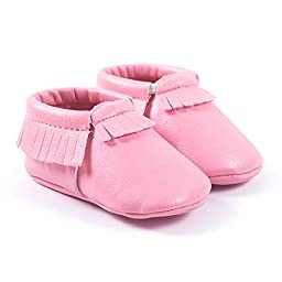LIVEBOX Infant Baby Moccasins Soft Sole Anti-Slip Tassels Prewalker Toddler Shoes (1: 0~6 months, Coral Pink)