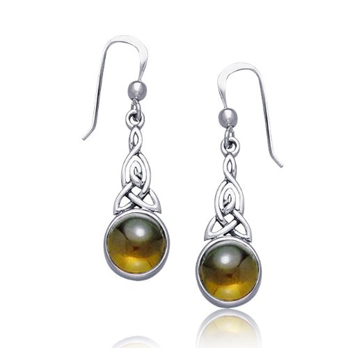 Bling Jewelry Celtic Knots Round Amber Dangle Earrings 925 Sterling Silver