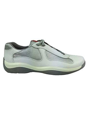 Sneakers Prada Uomo Pelle bianco e argento PS0906BIANCO 42EU