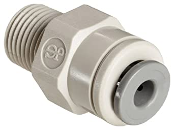 Celcon Push-to-Connect Tube Fitting, Acetal Copolymer, Straight Adapter, Tube OD x NPT Male
