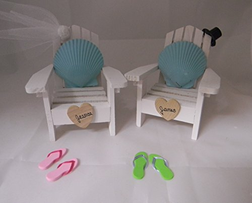 Wedding Reception Adirondack Chairs Beach Real Seashell Cake Topper