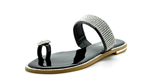 DREAM PAIRS FANTASIA Women Rhinestones Toe Ring Summer Flat Sandals
