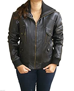 Jane Cosplay Women's High Neck Leather Jacket XX-Large Black
