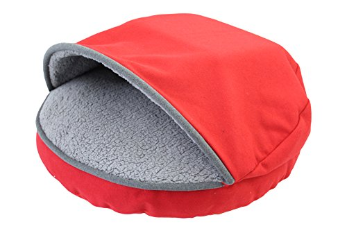 Precious Tails Red Felt Round Cave Hamburger Pet Bed with Gray Felt Piping & Plush Sherpa Interior 25""