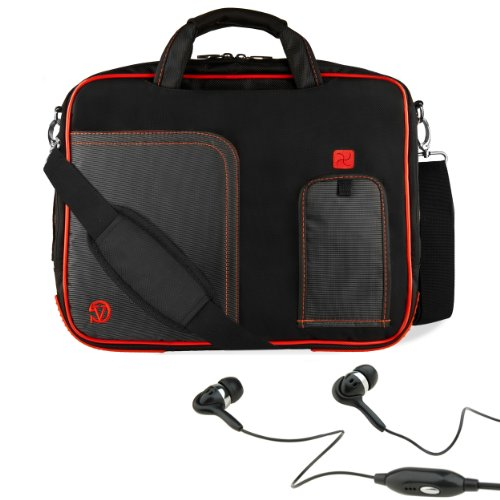 """Red Vg Pindar Edition Messenger Bag Carrying Case For Barnes & Noble Nook Hd+ Slate 9"""" Tablet (16Gb 32Gb) + Black Hifi Noise Reducing Handsfree Headphones With Mic front-63773"""