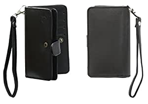 A9 G12 Leather Carry Case Cover Pouch Wallet Case For ZTE Blade V7 Lite Black