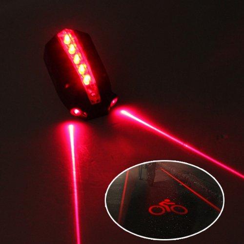 Intelligent Wireless Brake Warning Logo 5 Led Bike Laser Safety Rear Tail Light