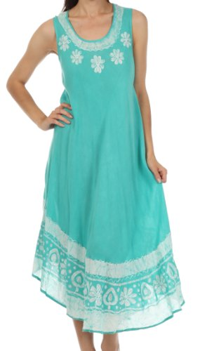 Sakkas A900 Batik Flower Caftan Tank Dress / Cover Up - Mint - One Size