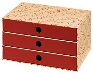 NIPS 110075250 ECO line CHARLY Schubladenbox A4, B 32,0 x T 24,5 x H 18,0 cm, vanille/bordeaux