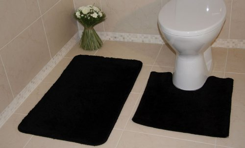 Bolero Plain Ebony Black Bath and Pedestal Bathroom Mats 2 Piece Set 100 - 2 Sizes
