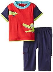NUBY Baby-Boys Newborn 2 Piece Pant Set Alligator, Red, 3-6 Months