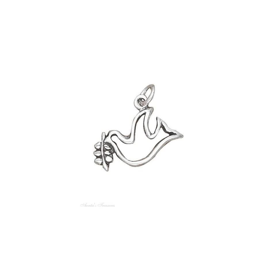 Sterling Silver Peace DOVE Outline Charm Leaves on PopScreen