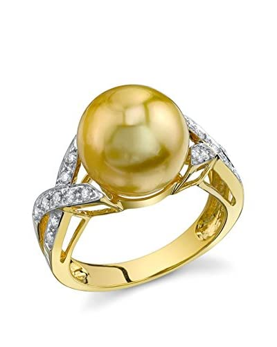 Radiance Pearl Infinity 11mm Golden South Sea Pearl & Diamond 18K Gold Ring