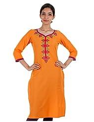 Bright Orange Cotton Kurta From ESTYLe