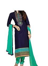 INDIA FASHION SHOP BLUE SEA GREEN PRINTED COTTON UN-STITCHED DRESS