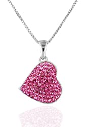 "Pink Swarovski Crystal Heart Pendant/Necklace in Sterling Silver with 18"" Chain"