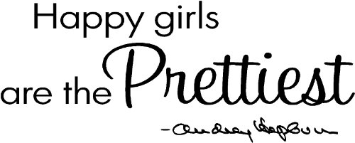 "Epic Designs "" Happy Girls Are The Prettiest "" Audrey Hepburn Wall Art Wall Saying Quote front-701263"