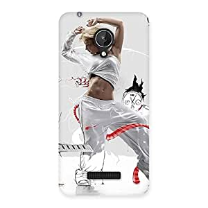 Cute White Dance Red Ribbon Back Case Cover for Micromax Canvas Spark Q380
