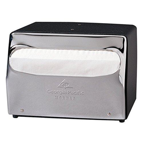 Georgia-Pacific MorNap 51602 Black & Chrome Full Fold Table Model Napkin Dispenser, (WxDxH) 7.500