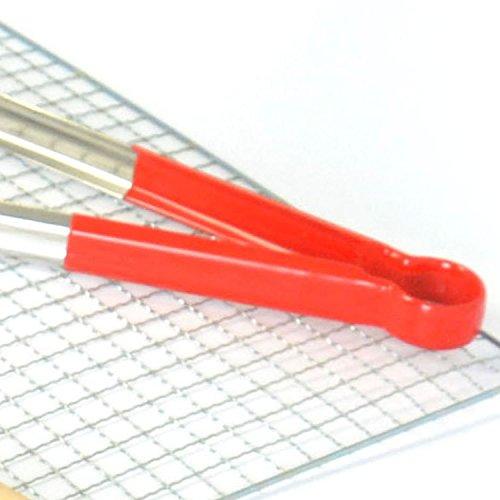 happynuts cuisson Pince 1pièce en acier inoxydable festonné Grip Pince alimentaire avec revêtement en plastique Poignée pour cuisson, barbecue, buffets 14 IN x Pair argent
